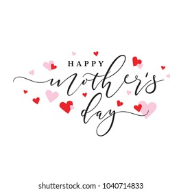 Happy Mother's Day Holiday Typography with Pink and Red Hearts