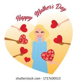 Illustration de la Joyeuse Fête des Mères. Femme aux coeurs et aux fleurs douée. Cadeau d'amour illustration vectorielle.