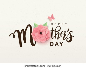 Happy mother's day lettering with a beautiful blossom flower