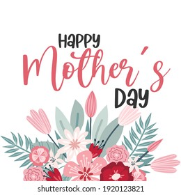 Happy Mothers Day lettering greeting cards with Flowers. Best mom ever cute feminine design. Vector illustration.
