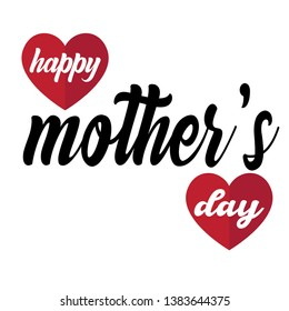 Happy Mothers Day lettering. Handmade calligraphy vector illustration. Mother's day card with heart - Vector