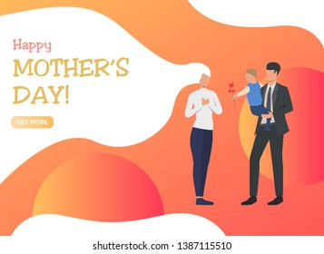 Happy Mothers Day lettering, man and boy giving flower to mom. Love, parenting, relationship concept. Presentation slide template. Vector illustration for topics like mothers day, childhood, family