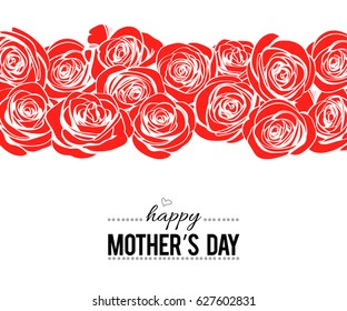 Happy Mother's day lettering template on white background with doodle red roses border  for your holiday design. Modern greeting card. Vector illustration.
