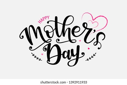 Happy Mothers Day lettering typography. Festive illustration with hand sketched celebration quote and elegant hearts on grey background. Mother's day greeting card, banner, poster, logo.