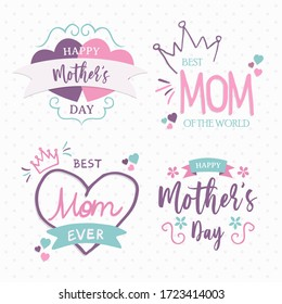 Happy mother's day love quote set for best mom typography message. Hand drawn mother holiday text doodle collection on isolated white background.