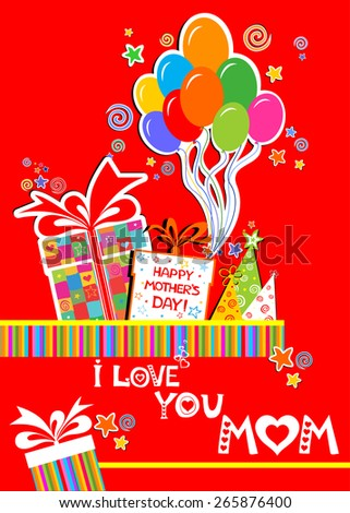 Happy Mothers Day I Love You Mom Celebration Red Background With Birthday Gift Boxes