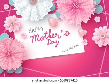 Happy mother's day message on white paper card and flowers with heart on pink background vector illustration