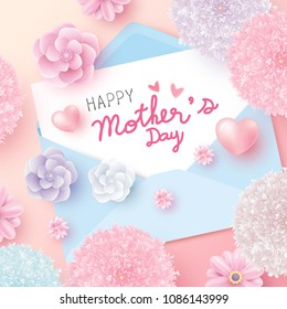 Happy mothers day message on white paper in envelope and flowers with heart vector illustration