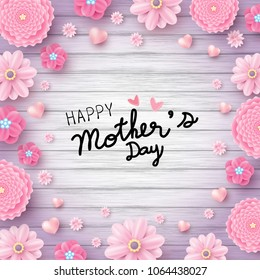 Happy mother's day message and pink flowers with hearts on wood texture background vector illustration
