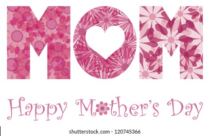 Happy Mothers Day with MOM Alphabet Letters Outline in Floral Patterns Illustration Isolated on White Background Vector
