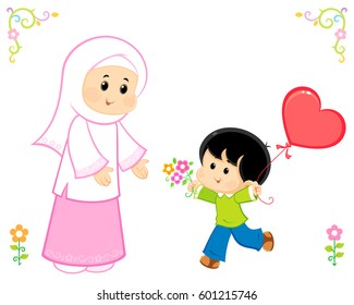 Muslim Child Mother Images, Stock Photos & Vectors