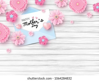 Happy mothers day on white paper in envelope and pink flower with heart on wood texture background with copy space vector illustration