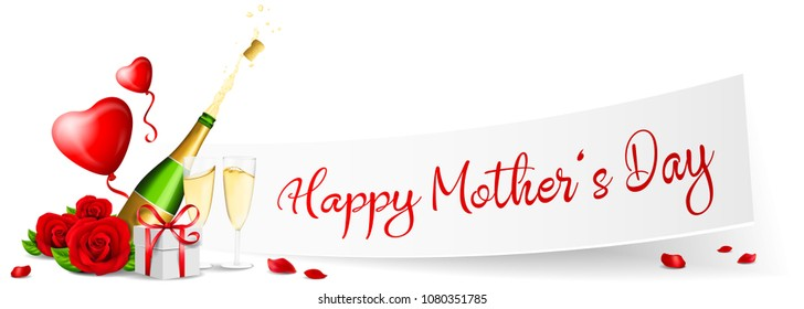 Happy mothers day paper banner with red roses, gift and champagne