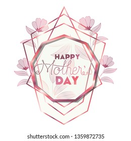 happy mother's day with pink frame nonagon