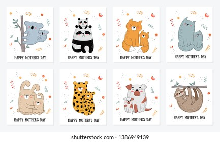 Happy Mother's Day postcard collection. Mom animal with a child (koala, rabbit, panda, leopard, fox, cat, dog, sloth). Perfect for postcard, label, brochure, flyer, page, banner design