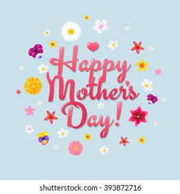 Happy Mothers Day Postcard With Gradient Mesh, Vector Illustration