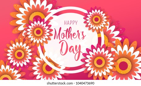 Happy Mother's Day poster with bright flowers. Trendy Design Template. Vector illustration
