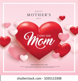 Happy mother's day poster design with red and pink 3D hearts