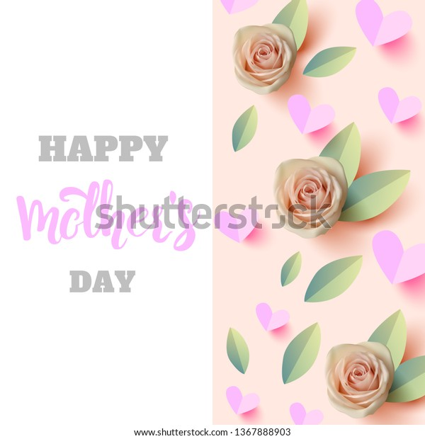 Happy Mothers Day Quote Background Roses Stock Vector ...