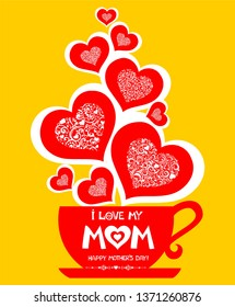 Happy Mother's Day! Restaurant Menu Card Design. Menu Template on Mother's Day. Mother's Day message with heart  coming out of a coffee cup. Flat lay style greeting card with coffee, flowers and heart