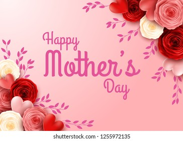 Happy Mother's Day with rose flowers background