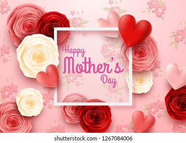 Happy Mother's Day with rose flowers and hearts background