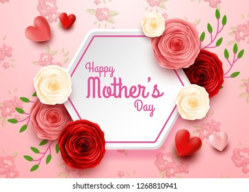 Happy Mother's Day with rose flowers and hearts