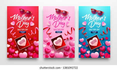 Happy Mother's Day Sale Poster or banner with gift box and sweet heart.Happy Mother's Day.Trendy Design Template for Mother's Day and love concept.Vector illustration EPS10