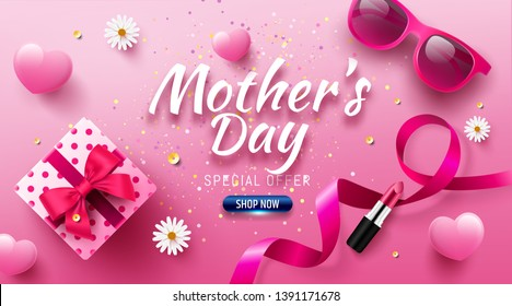 Happy Mother's Day Sale Poster or banner with love gift box and sweet heart.Happy Mother's Day.Trendy Design Template for Mother's Day and love concept.Vector illustration EPS10