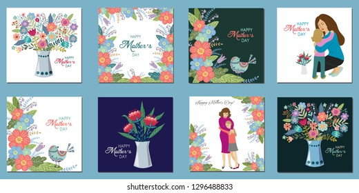 Happy mothers day, Ser of hand draw design template for greeting cards , vector illustration