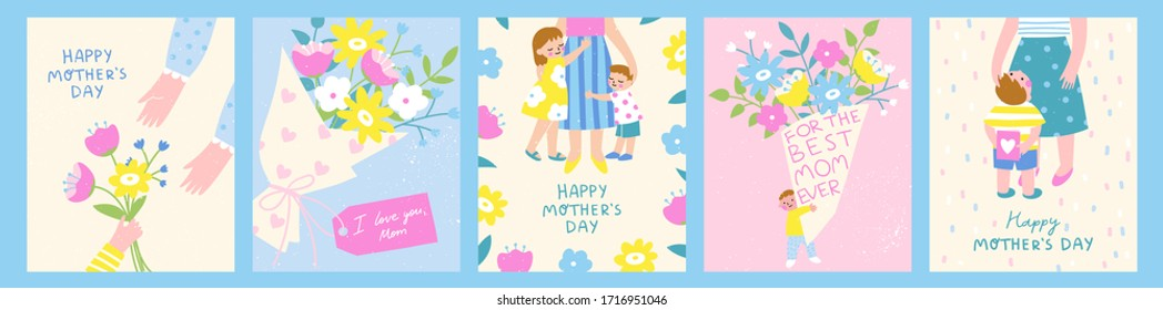 Happy Mother's Day! Set of five cute and colorful vector illustrations. Kids and their mom, gifts and flowers for the Mother's Day celebration. Design templates for a card, banner, poster.
