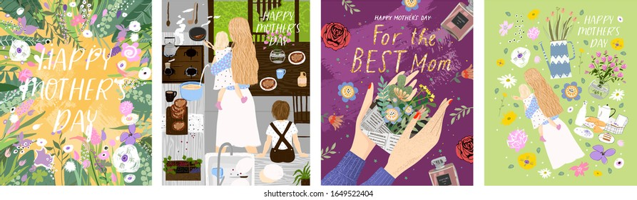 Happy Mother`s Day! Set of vector posters with flower template; woman and her children in kitchen; gift in hand for best mom and isolated objects. Drawings for a card, poster or postcard
