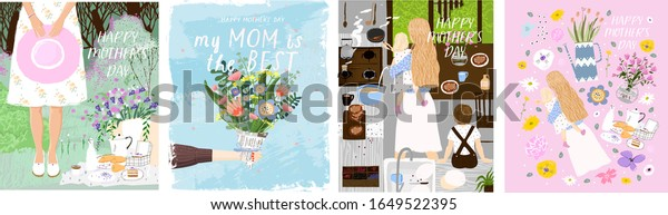 Happy Mother`s Day! Set of vector posters with woman celebrating on picnic; flowers bouquet in hand; mom and her children in kitchen and isolated objects. Drawings for a card, poster or postcard