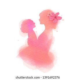 Happy mother's day. Side view of Happy mom with daughter  silhouette plus abstract watercolor painted.Happy  mother's day. Double exposure illustration. Digital art painting. Vector illustration