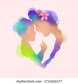 Happy mother's day. Side view of Happy mom with her child silhouette plus abstract watercolour painted. Happy mother's day. Double exposure illustration. Digital art painting. Vector illustration