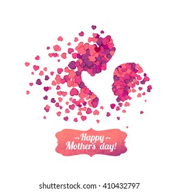 Happy Mother's Day! Silhouette of a mother and her child of pink hearts