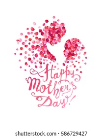 Happy Mother's Day! Silhouette of a mother and her child of pink rose petals