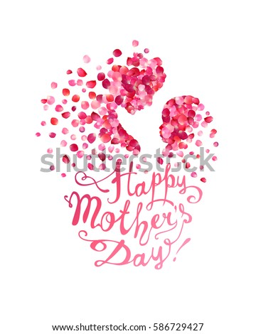 happy mothers day silhouette mother her のベクター画像素材