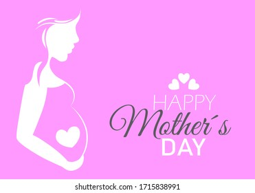 Happy Mothers Day. Silhouette pregnant woman inside a heart