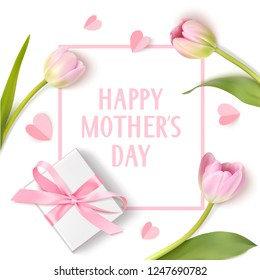 Happy Mothers Day. Spring holiday design template with pink tulip, white gift box and paper hearts isolated on white background. Vector illustration