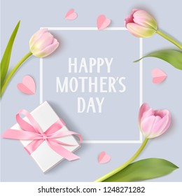 Happy Mothers Day. Spring holiday design template with pink tulip, white gift box and paper hearts isolated on blue background. Vector illustration
