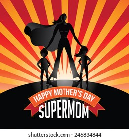 Happy Mothers Day Supermom burst EPS 10 vector royalty free stock illustration