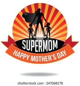 Happy Mothers Day Supermom icon EPS 10 vector royalty free stock illustration