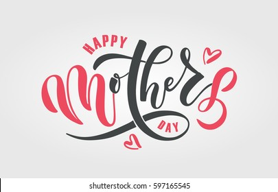 Happy Mother's Day text as celebration badge, tag, icon. Text card invitation, template. Festivity background. Lettering typography poster. Vector illustration EPS 10. Banner on textured background.