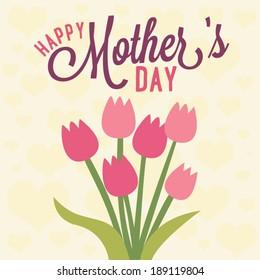 Happy Mother's Day Tulip Flower Vector