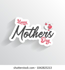 happy mother's day with typography design, mom's day, on white background, hearts vector design element.