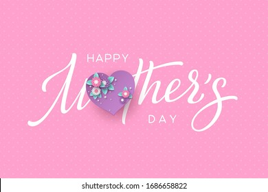 Happy Mothers day typography design. Handwritten calligraphy with 3d paper cut flowers and heart on pink dotted background. Vector illustration.