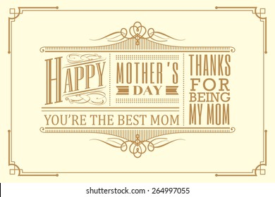 happy mother's day typography vintage frame design