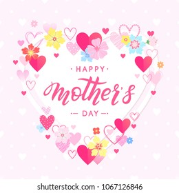 Happy Mothers Day typography.Happy Mothers Day - hand drawn lettering with floral elements flowers ahd hearts.Seasons greetings card perfect for prints,banners,invitations,special offer and more.