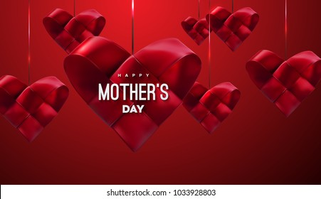 Happy Mothers Day. Vector festive illustration. Red woven ribbon heart shapes. I love you mom. Holiday realistic banner with hanging hearts. Decoration element. Sale or special offer sign design